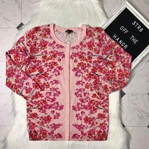 Talbots pink floral print button cardigan size XS